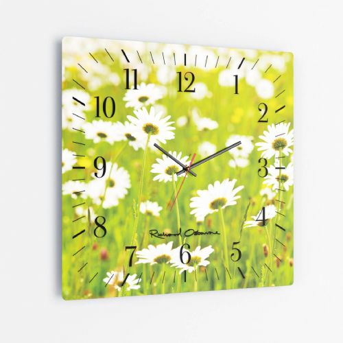 Ox Eye Daisies I - Square Glass Clock